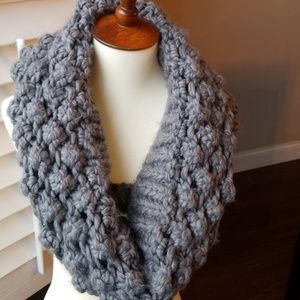 Accessories - Grey crochet Infinity Scarf